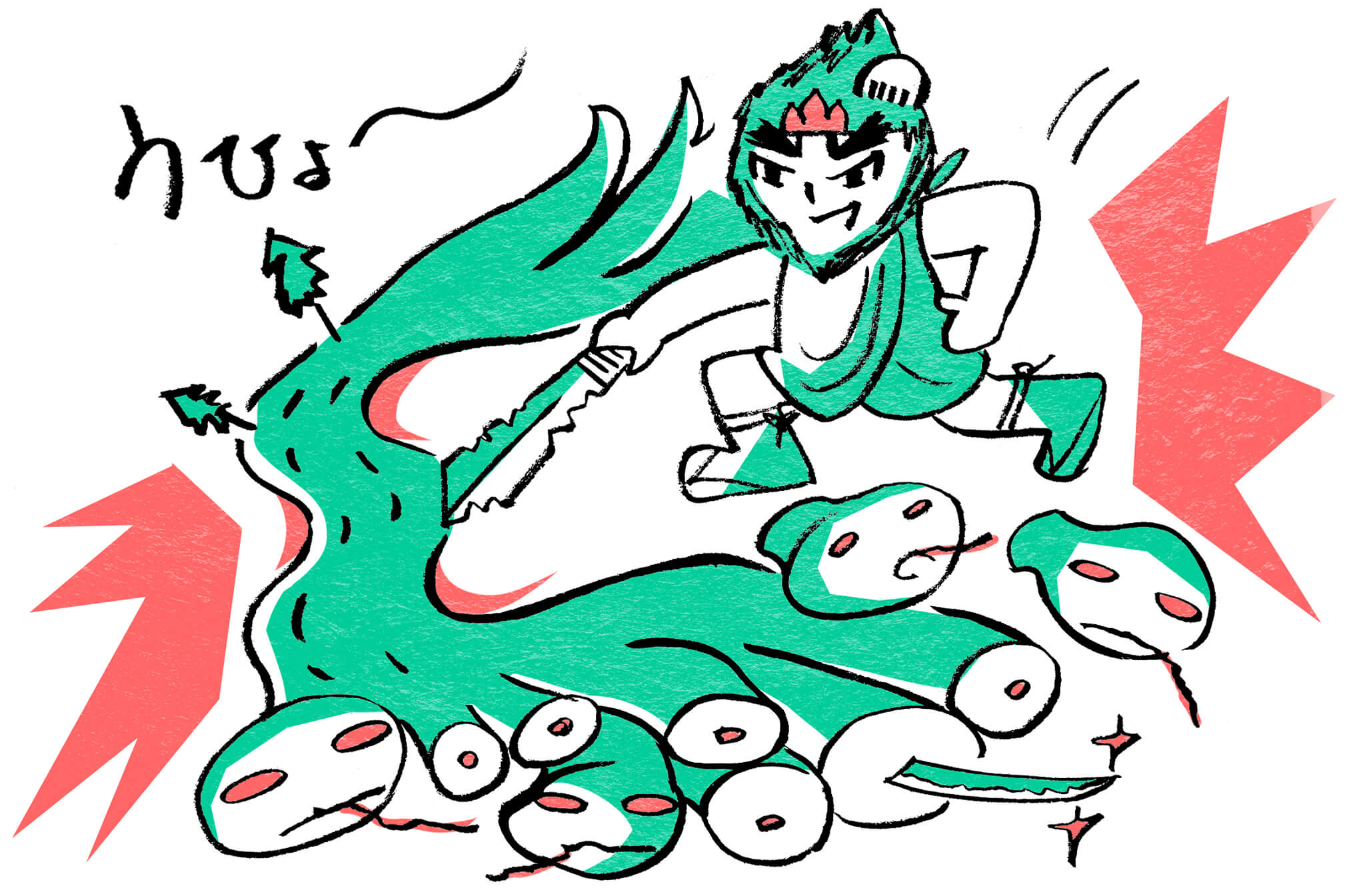 ヤマタノオロチを退治するスサノオノミコト