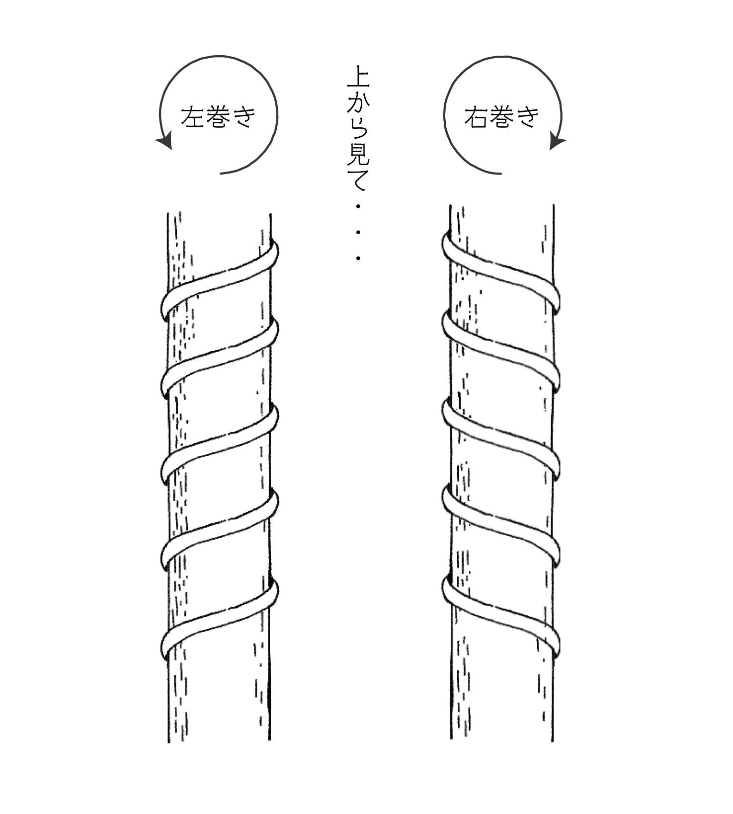 つるの左巻きと右巻き